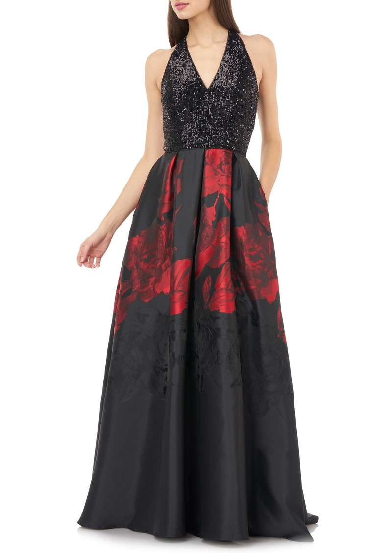 Carmen Marc Valvo Infusion Sequin & Floral Ballgown