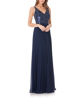 Carmen Marc Valvo Infusion Sequin & Pleat Gown