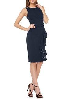 Carmen Marc Valvo Infusion Sequin Cascade Ruffle Cocktail Sheath