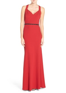 Carmen Marc Valvo Infusion Sequin Crepe Gown