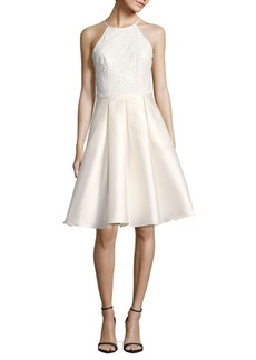 Carmen Marc Valvo Infusion Sequin Embellished Halterneck Dress