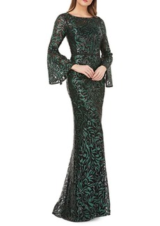 Carmen Marc Valvo Infusion Sequin Embellished Mermaid Gown
