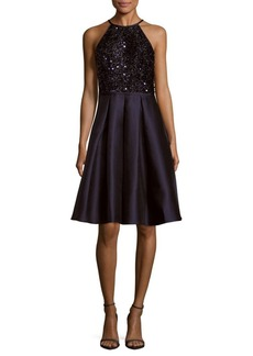 Carmen Marc Valvo Infusion Sequin Embellished Pleated Dress