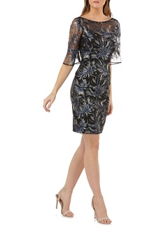 Carmen Marc Valvo Infusion Sequin Embellished Sheath Dress