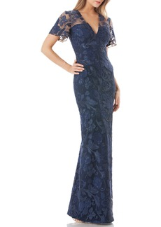 Carmen Marc Valvo Infusion Sequin Embroidered Gown