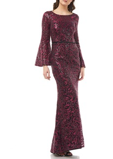 Carmen Marc Valvo Infusion Sequin Embroidered Trumpet Gown