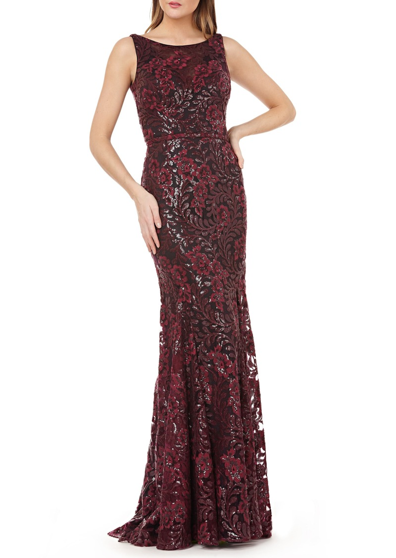 Carmen Marc Valvo Infusion Sequin Floral Gown