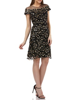 Carmen Marc Valvo Infusion Sequin Floral Illusion Yoke Cocktail Dress