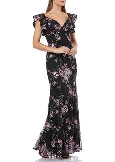 Carmen Marc Valvo Infusion Sequin Floral-Motif Flutter-Sleeve Gown