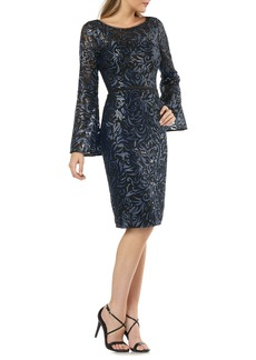 Carmen Marc Valvo Infusion Sequin Long Bell Sleeve Sheath Dress
