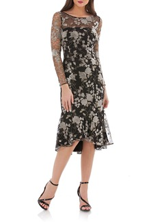 Carmen Marc Valvo Infusion Sequin Mesh Midi Dress