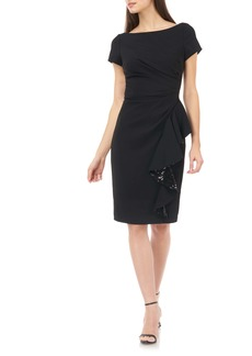 Carmen Marc Valvo Infusion Sequin Ruffle Short Sleeve Crepe Cocktail Dress