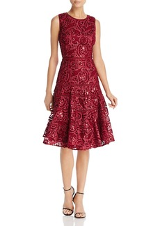 Carmen Marc Valvo Infusion Sequin Soutache Dress