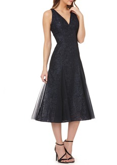 Carmen Marc Valvo Infusion Sequin Tea Length Gown