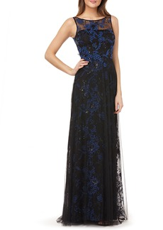 Carmen Marc Valvo Infusion Sequin Threadwork Gown