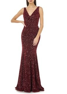 Carmen Marc Valvo Infusion Sequin V-Neck Mermaid Gown