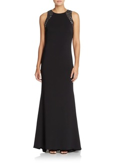 Carmen Marc Valvo Infusion Sequined Crepe Gown