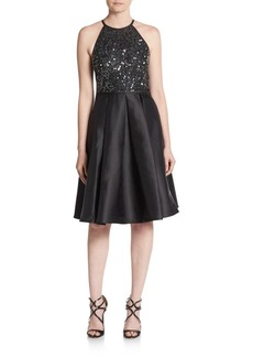 Carmen Marc Valvo Infusion Sequined Satin A-Line Dress