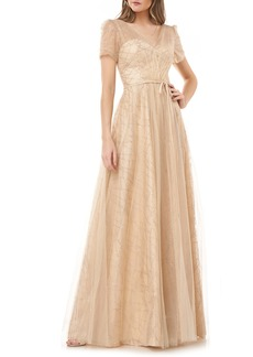 Carmen Marc Valvo Infusion Sequined Tulle Overlay Ballgown