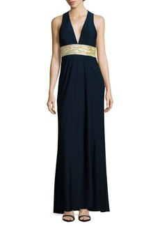 Carmen Marc Valvo Infusion Sleeveless Embellished Column Gown