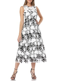 Carmen Marc Valvo Infusion Sleeveless Embroidered Lace Fit-&-Flare Midi Dress