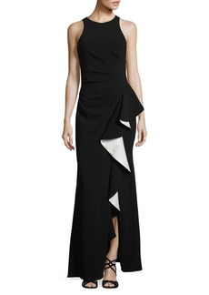 Carmen Marc Valvo Infusion Sleeveless Ruffled Gown