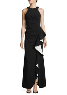 Carmen Marc Valvo Infusion Sleeveless Ruffled Gown
