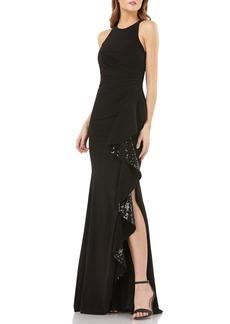Carmen Marc Valvo Infusion Sleeveless Sequin Cascade Ruffle Gown
