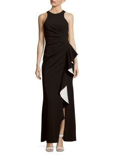 Carmen Marc Valvo Infusion Solid Crepe Halter Gown