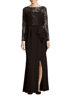 Carmen Marc Valvo Infusion Solid Sequined Gown