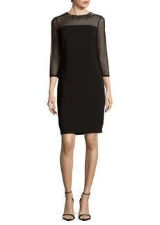 Carmen Marc Valvo Infusion Solid Three-Quarter Sleeve Dress