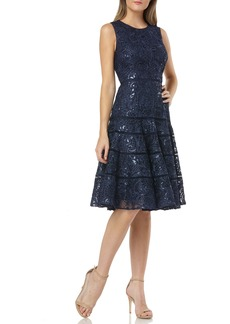 Carmen Marc Valvo Infusion Soutache Fit & Flare Dress