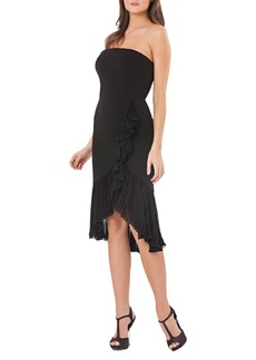 Carmen Marc Valvo Infusion Strapless Ruffle Trim Dress
