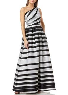Carmen Marc Valvo Infusion Stripe One-Shoulder Ballgown