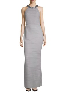 Carmen Marc Valvo Striped High Neck Column Gown