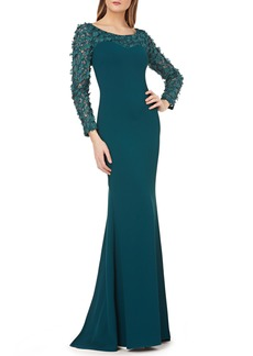 Carmen Marc Valvo Infusion Sweetheart Crepe Gown