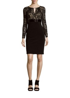 Carmen Marc Valvo Infusion Textured Lace-Top Dress