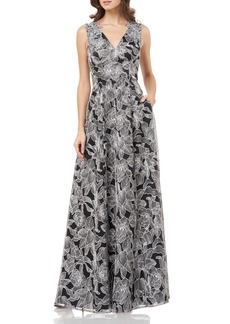 Carmen Marc Valvo Infusion Threadwork V-Neck Evening Dress
