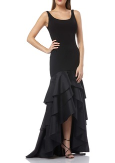 Carmen Marc Valvo Infusion Tiered High/Low Crepe Gown