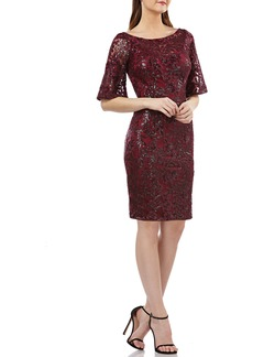 Carmen Marc Valvo Infusion V-Back Sequin Lace Cocktail Dress