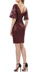 Carmen Marc Valvo Infusion V-Back Sequin Lace Cocktail Dress