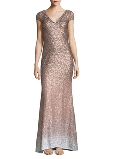 Carmen Marc Valvo Infusion V-Front Ombre Floor-Length Gown