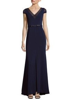 Carmen Marc Valvo Infusion V-Neck Floor-Length Gown