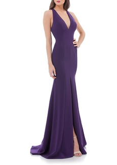 Carmen Marc Valvo Infusion V-Neck Halter Style Gown