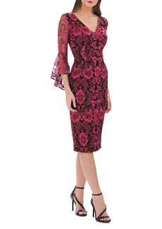 Carmen Marc Valvo Infusion V-Neck Lace Bell-Sleeve Dress