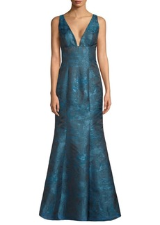 Carmen Marc Valvo V-Neck Mermaid Gown