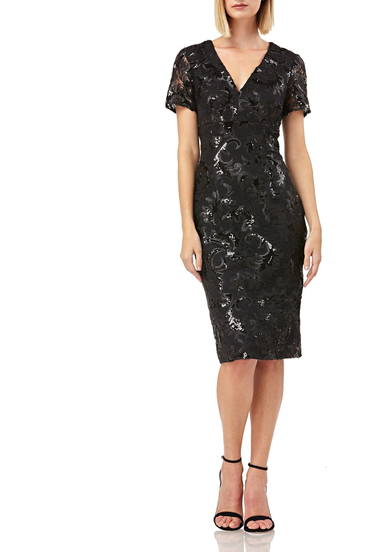 Carmen Marc Valvo Infusion V-Neck Sequin Soutache Cocktail Sheath