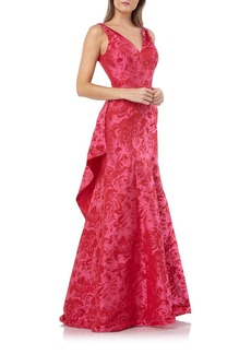Carmen Marc Valvo Infusion V-Neck Sleeveless Jacquard Gown with Back Ruffle