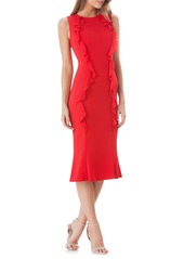 Carmen Marc Valvo Infusion Vertical Ruffle Crepe Sheath Dress