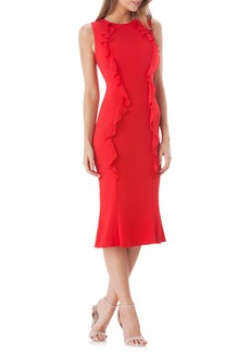 Carmen Marc Valvo Infusion Vertical Ruffle Crepe Sheath Dress
